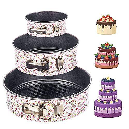 JPYH 3 Stück Kuchenform Rund Setm,Springform Cake Pans mit Flachboden Kuchenformen Auslaufsicher,3 Größen(18cm/20cm/22cm,Auslaufsichere Antihaftbeschichtung,Blumenstil