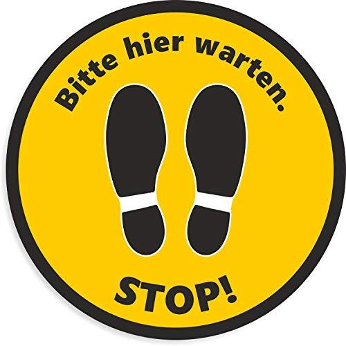 Fußbodenaufkleber | Stop! Bitte Hier warten Aufkleber | Rund - 20 cm | Rutschhemmend und Trittsicher | wasserfester Bodenaufkleber | Warnhinweis Corona Sicherheitsabstand (Gelb/Schwarz)