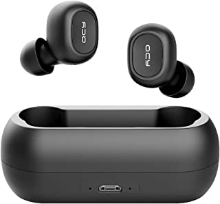 QCY T1C True Wireless Bluetooth Earbuds, In-Ear Stereo Bluetooth Headphones, Wireless Charging Case, Noise Cancelling Built-in Mic, Deep Bass Binaural Calls Auto Pairing
