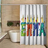 N\A Cortina de Ducha para niños Emma Diseño Popular del Nombre Femenino con Muchos Colores Velas y Globos Tema de cumpleaños Multicolor