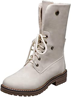 Gleamfut Womens Winter Short Boots Flanging Buckle Solid Color Lace-up Internal Plush Ladies Warm Boots