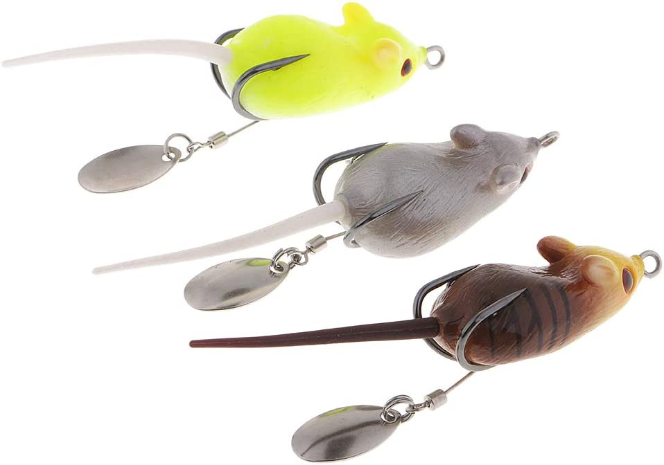 3pcs Topwater Mouse Fishing Lures Mice Bait Rat Fishing Lures Spinnerbaits