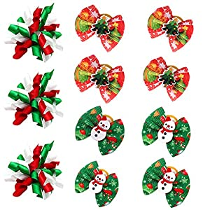Masue Pets 20pcs/10pairs Puppy Dog Hair Bows with Rubber Bands Curve Bows Dog Bowknot Bows Small Dog Accessories Combination for Halloween/Thanksgiving/Christmas Holidays