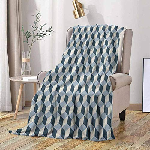 RenteriaDecor Retro Soft Blanket 3D Style Cubes Squares Pattern Geometric Old Fashioned Abstract Futuristic 60x70 Inch Flannel Fleece Plush Throw Blanket