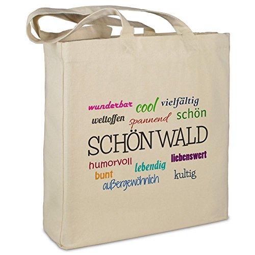 Stofftasche mit Stadt/Ort 'Schönwald' - Motiv Positive Eigenschaften - Farbe beige - Stoffbeutel, Jutebeutel,...