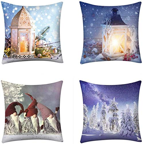 XXLYY 4PCS Happy Christmas Decoration Pillow Case Cover with Words, Xmas Tree Snowflake Snowman Reindeer Pillowcases Decor, for Sofa Cushion Home Outdoor (S)