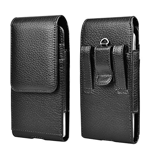 Tiflook Leather Belt Case with Clip for iPhone 12 Pro Max 11 XS XR X 8 7 Samsung Note 20 S20 S10 S9 A71 A51 A20 Moto G Fast G Power LG Stylo 5 G8 ThinQ Holster Cell Phone Pouch Belt Holder, Black