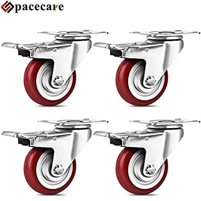 SPACECARE 4 Pack Swivel Red Casters Wheels 1200Lbs Heavy Duty Polyurethane Wheels with Brake Safety Dual Locking No Noise Wheels Anti-wear Smooth Casters