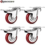 SPACECARE 3 Inches Heavy Duty Casters 4 Pack Swivel Red Polyurethane Wheels 1200 Lbs with Brake Safety Dual Locking No Noise Wheels Anti-wear Smooth Casters
