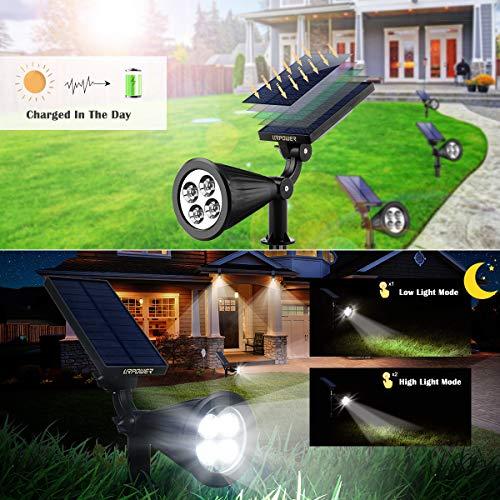 URPOWER Solar Lights Outdoor, Adjustable Solar Spot Lights Outdoor, 2-in-1 Waterproof Solar Landscape Spotlights Wall Light, Dusk-to-Dawn Solar Powered Outdoor Light for Garden, Yard, Pathway (2 Pack)