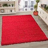VIMODA Prime Shaggy Farbe Rot Teppich Hochflor Langflor Teppiche Modern, Maße:60x100 cm