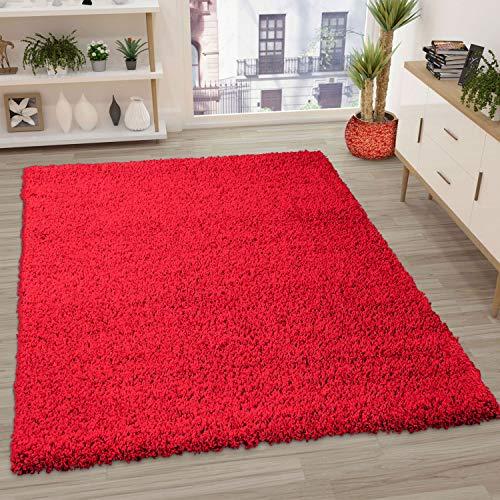 VIMODA Prime Shaggy Farbe Rot Teppich Hochflor Langflor Teppiche Modern, Maße:80x150 cm