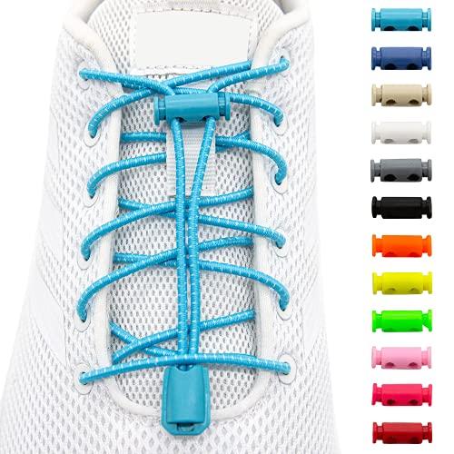 BENMAX SPORTS Schnürsenkel ohne Binden - Elastische Gummi Schuhbänder, Elastisch Schnellverschluss Elastic Shoelaces, Kinder Schuhe Zubehör, 1 Paar - 120 cm - 12 Bunte Farben (Türkis, 1 Paar)