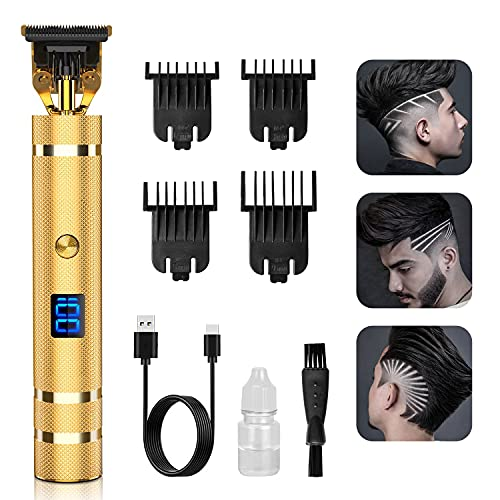 Hair Trimmer, Qhou Newest T-Blade Outline Trimmer for Men, Electric Pro Li Cordless Trimmer Zero Gapped Detail Liners for Men Barbershop Beard Shaver Rechargeable Hair Clippers with LED Display-Gold