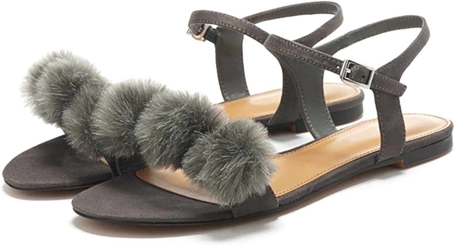 YVWTUC Ladies Flat shoes Summer Sandals Cool with Hairball