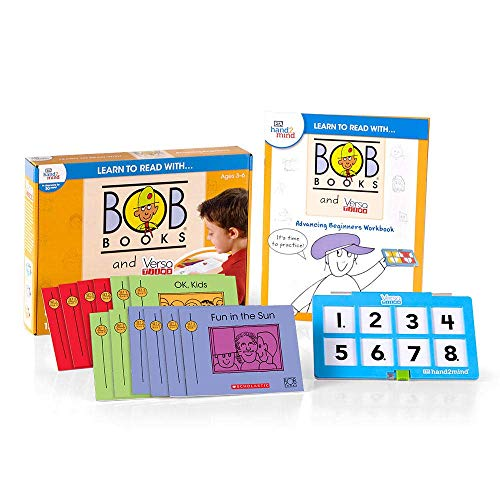 hand2mind - 90810 Aprende a leer con libros BOB y VersaTiles Advancing Set principiante, libros de lectores tempranos para niños de 4 a 6 años, 12 libros BOB, libro de trabajo y estuche de respuesta, suministros de guardería en casa