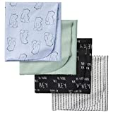 GERBER Baby Boys 4-Pack Flannel Receiving Blanket, Hello Bear, One Size