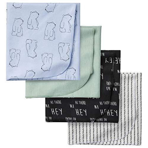 Gerber Baby Boys Paquete de 4 Mantas de Franela para recepción, Hello Bear, Talla única
