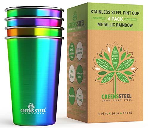 Edelstahlbecher, 473 ml, 4 Stück – hochwertige Metall-Trinkgläser | stapelbare langlebige Becher (473 ml Regenbogen)