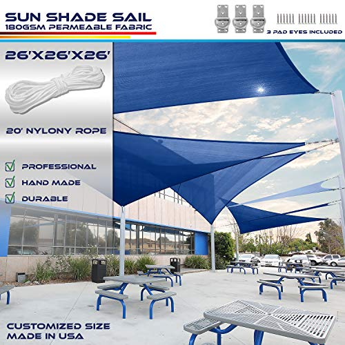 Windscreen4less 26' x 26' x 26' Sun Shade Sail Canopy in Ice Blue with Commercial Grade (3 Year Warranty) Customized Sizes Included Free Pad Eyes