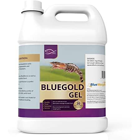 Bluegold Gel 5LT - The Binder Gel, Aqua Feed Supplement for Prawns. Enriched with Attractant Flavors and Binding compounds. Reduces the Wastage of Feed. Improves Growth and Weight Gain of Shrimp in Aquaculture. Essential Feed Additive for Vannamei and Tiger Shrimp diet. Exceptional Pellet Feed Binder for Shrimps.