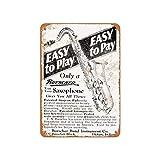 Tra56owe 1928 Buescher Saxophones Vintage Look Metal Sign Wall Decor Tin Sign