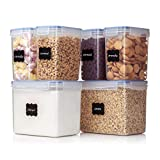 Vtopmart Airtight Food Storage Containers 6 Pieces - Plastic PBA Free Kitchen Pantry Storage Containers for...