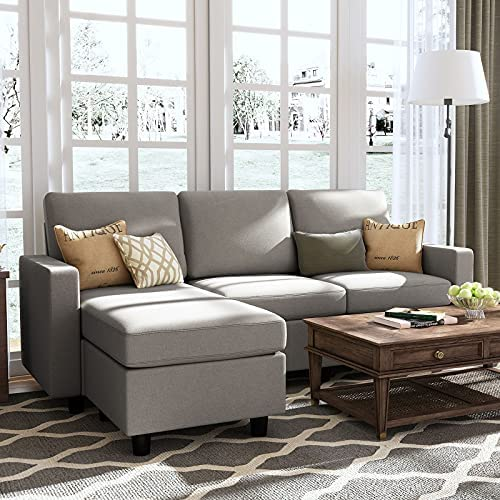 HONBAY Convertible Sectional Sofa Couch, L-Shaped Couch with Modern Linen Fabric for Small Space Dark Grey