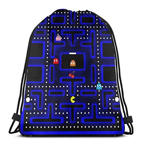 BXBX Plegable Drawstring Backpack Bag Sport Gym Sackpack Cinch Bag for School Yoga Gym Swimming Travel Unisex - Retro Arcade