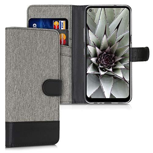 kwmobile Hülle kompatibel mit LG K61 - Kunstleder Wallet Hülle mit Kartenfächern Stand in Grau Schwarz