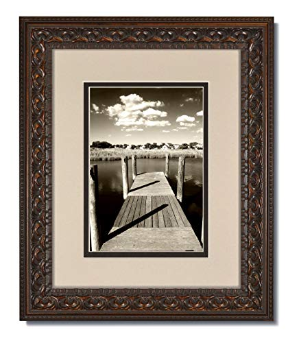 16X20 Vintage Ornate Bronze Photo Frame with Clear Glass and Oyster/Espresso Double Mat for 11X14 (1)