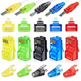 RJ45 Assorted Colors Cat6 Pass Through Connectors and Cable Strain Relief Boots Pack of 100/100 (200 Total) | EZ Crimp UTP Connector