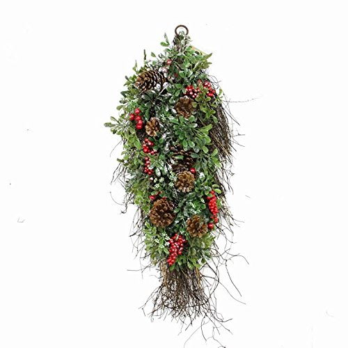 """Northlight Unlit Glittered Artificial Boxwood Pine Cone and Red Berry Christmas Teardrop Swag, 28"""""""