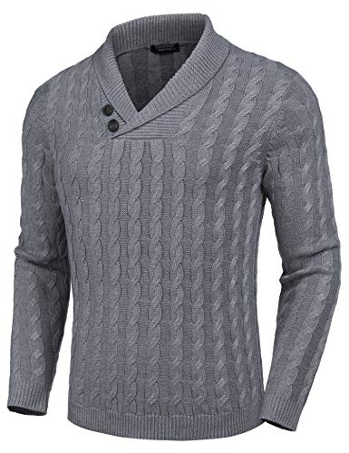 COOFANDY Men's Shawl Collar Pullover Sweater Slim Fit Casual Button Cable Knit Sweaters Grey