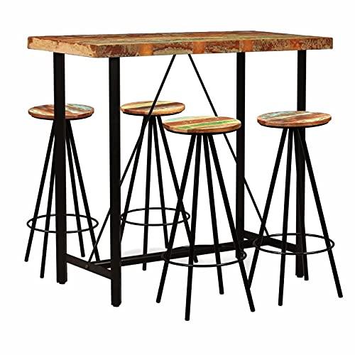 5 Piezas De Madera Moderna Top Pub Bar De Barras De Bar, Taburetes De Bar Rústico Para Cocina Altura Mesa De Comedor Asiento De Madera Natural, Marrón,B