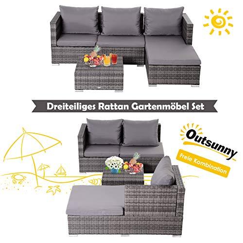 Outsunny Dreiteiliges Gartenmöbel Set, Sofa, Beistelltisch mit Stauraum, 5-Stufig Rückenlehne, PE-Rattan, Grau, (Sofa) 130 x 64 x 62 cm - 5