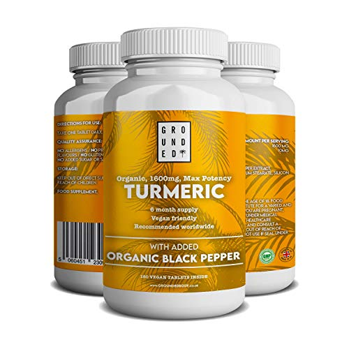 Organic Turmeric Curcumin 1600 mg with Black Pepper - 180 Vegan Turmeric Tablets, Max Potency (6 Month Supply) - Made in The UK by Grounded Body