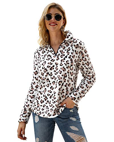 P&A Fashion Women's Long Sleeve Leopard Print Sweatshirt V Neck Quarter Zip Fleece Pullover Tops (L, White)