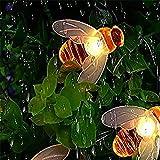 Guirnalda Luces Exterior Solar,luces de cadena de abejas al aire libre 20LED 8 modos Luces de hadas Decoración a prueba de agua Jardín, Navidad, Terraza, Patio, Fiestas(Blanco cálido)