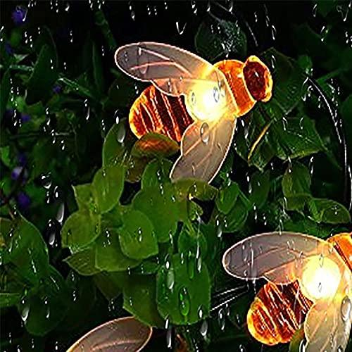Luci Solari Esterno,50LED Luci Solari per Giardino Ape Catena Luminosa 8 Modalità Esterno Impermeabile Illuminazione Catena luci decorazioni per Esterno per Terrazza,Natale,Alberi(Bianco Caldo)