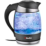 Mueller Ultra SpeedBoil Cordless Electric Kettle Glass Tea, Coffee Pot 1.8 Liter Cordless with LED Light, Borosilicate Glass BPA-Free with Auto Shut-Off and Boil-Dry Protection