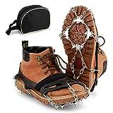 *BROTOU Grampons, 19 Dents Tacs de tracció Neu i Gel Tracció per a Hivern Esports Muntanyisme Escalada Caminar Alpinisme *Cámping Acampada Senderisme (M)