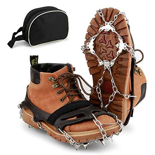 BROTOU Steigeisen für Bergschuhe, mit 19 Zähnen, Schuhkrallen, Eisspikes, Schneekette, Grödel und Sp (XL)