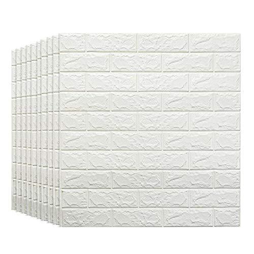 KUNYI Weiß Brick 3D Wandpaneele schälen und Stick-Tapete for Wohnzimmer Schlafzimmer Hintergrund Wanddekoration (Size : 10 Pack)