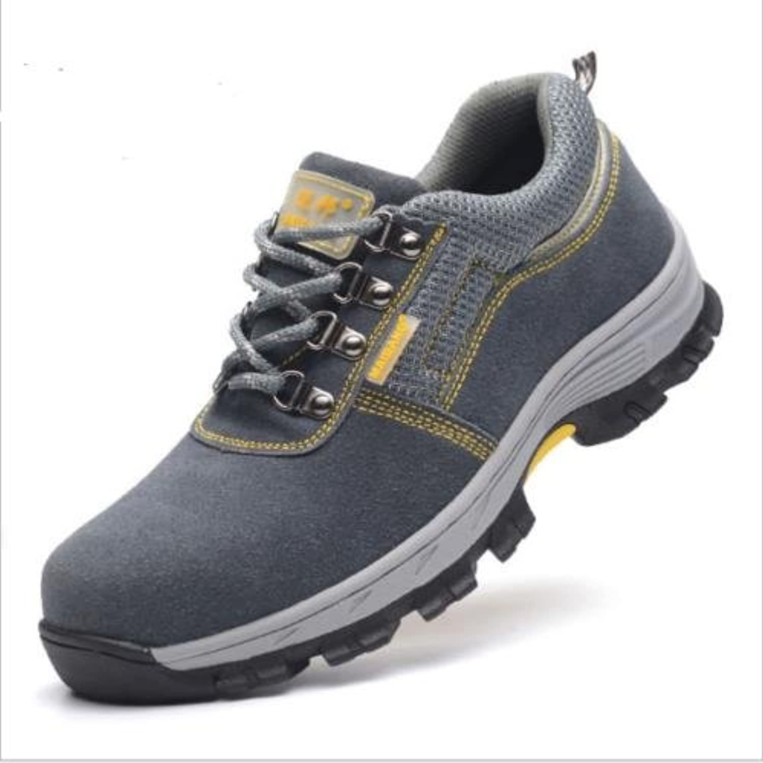 Otado Outdoors Clothing & shoes - Outdoor Mens Safety shoes Summer Breathable Steel Toe Work Boots Hiking Climbing - (Size(US)  7, color  Grey)