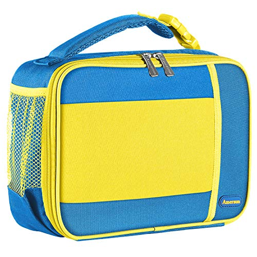 Kids Lunch Bag with Supper Padded Inner Keep Food Cold Warm for Longer Time,Amersun Leak-proof Solid Insulated School Lunch Box with Multi-Pocket for Teen Boys Girls,CPC Certified,Blue+Yellow