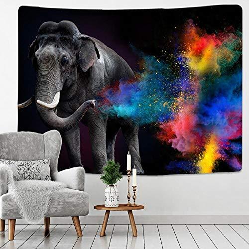AdoDecor Tapiz de Elefante para Colgar en la Pared, Tapiz de Alfombra de Pared de Animales, Tapiz Bohemio para decoración del hogar, Hoja de Colcha 150x130cm/59 * 51inch