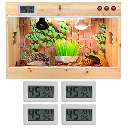 Medidor de temperatura de humedad integrado, medidor de temperatura de humedad, termómetro LCD higrómetro, mini probador de temperatura de humedad para la oficina de escuelas en el hogar de(TS-804-W)