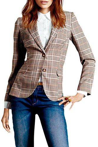 Sevozimda Frauen Im Britischen Anzug Kariert Kontrolliert Slim Der Blazer Jacke Mit Kragen Plaid XXL