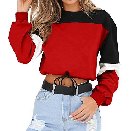 Jersey De Manga Larga para con Sudadera Clásico Mujer Capucha para Mujer Blusa Blusas Cortas Camisa De Retazos Tops 2020 Ropa para Niñas (Color : Rot, One Size : XL)
